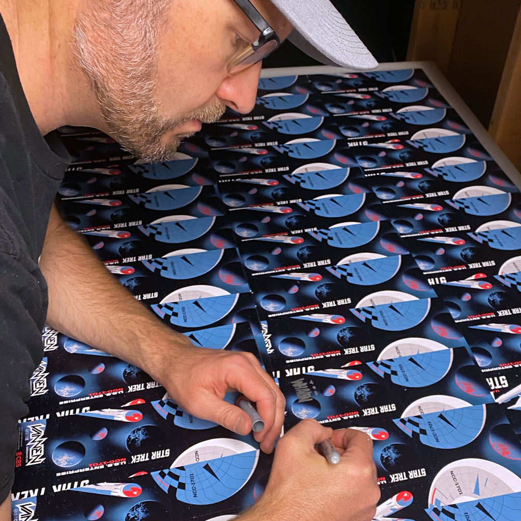 Tom Whalen signing Star Trek watch packaging