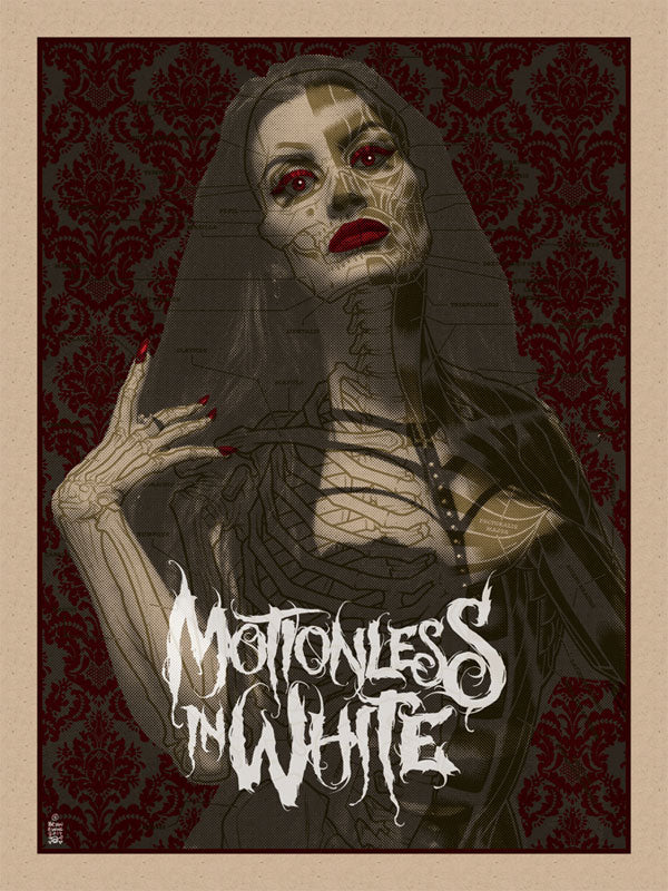 Brian Ewing screenprint for Motionless in White
