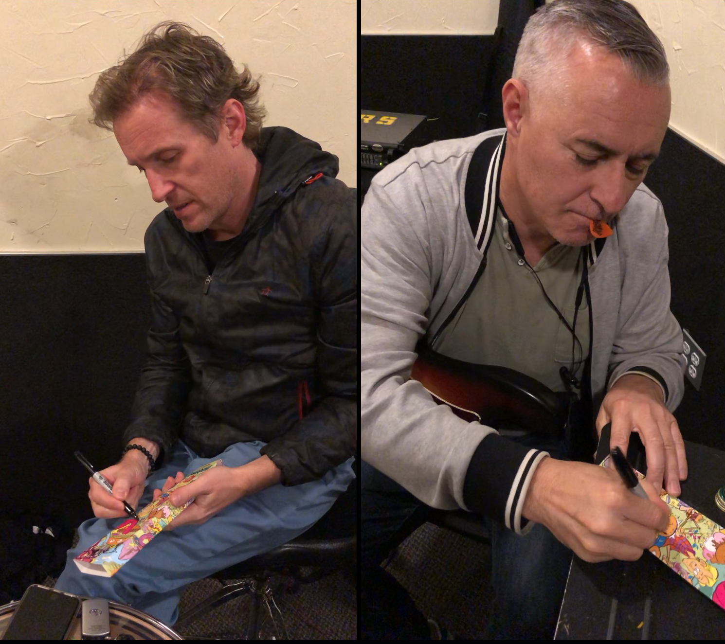 "Josh Freese and Joe Escalante signing Vandals ""Anarch Burger"" Watch packaging."