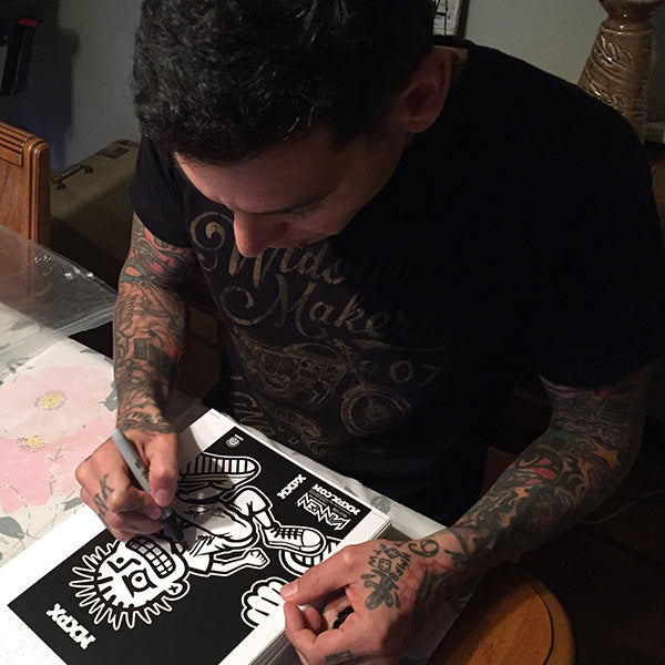 Mike Herrera signing MXPX Vannen Artist Watch Packaging