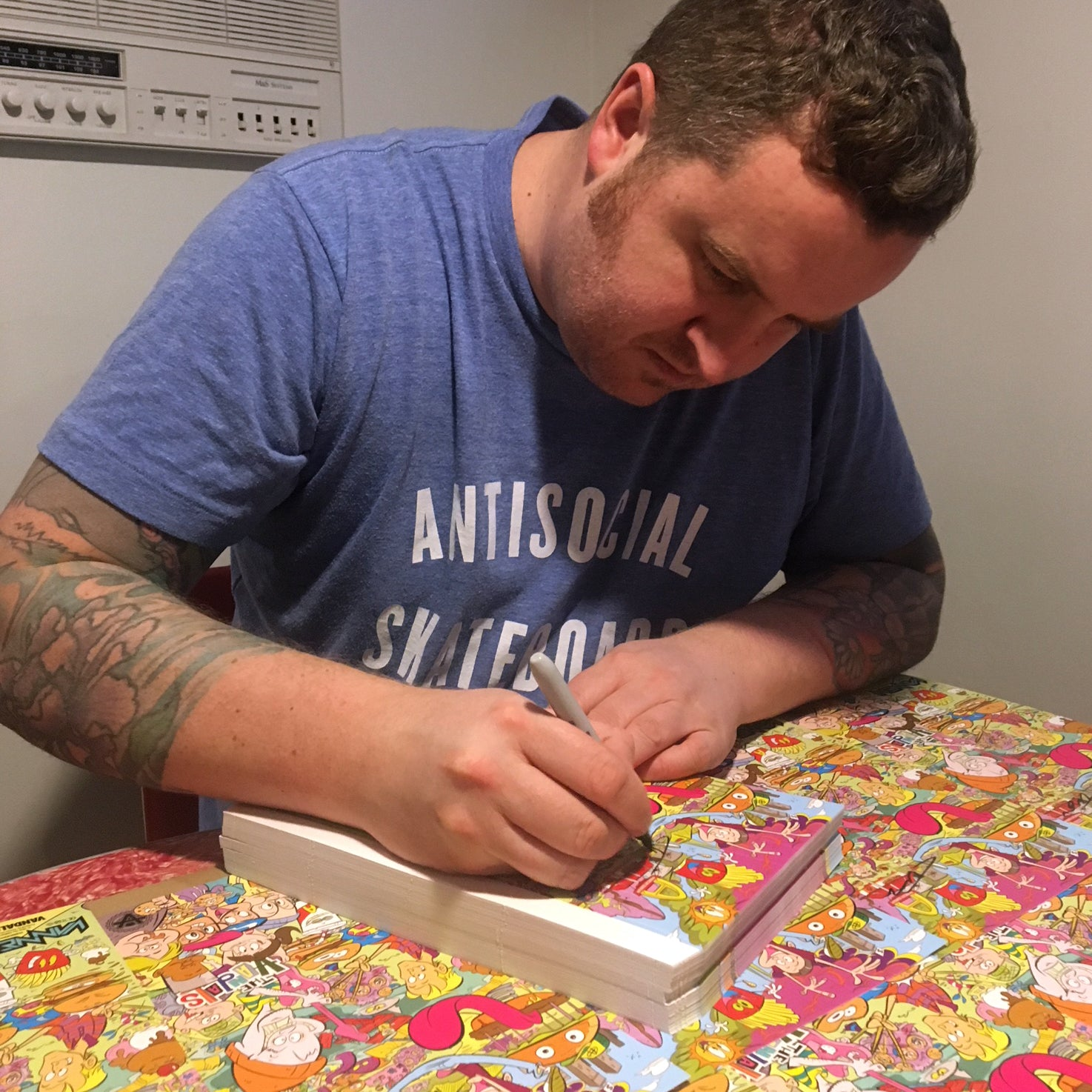Cory Toomey signing Vandals watch packaging