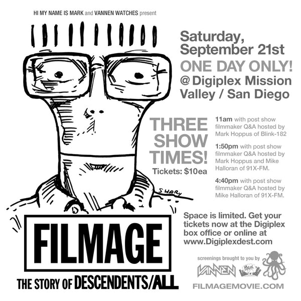 Vannen Watches and Hi My Name is Mark host 3 San Diego Screenings of FILMAGE: The Story of DESCENDENTS/ALL