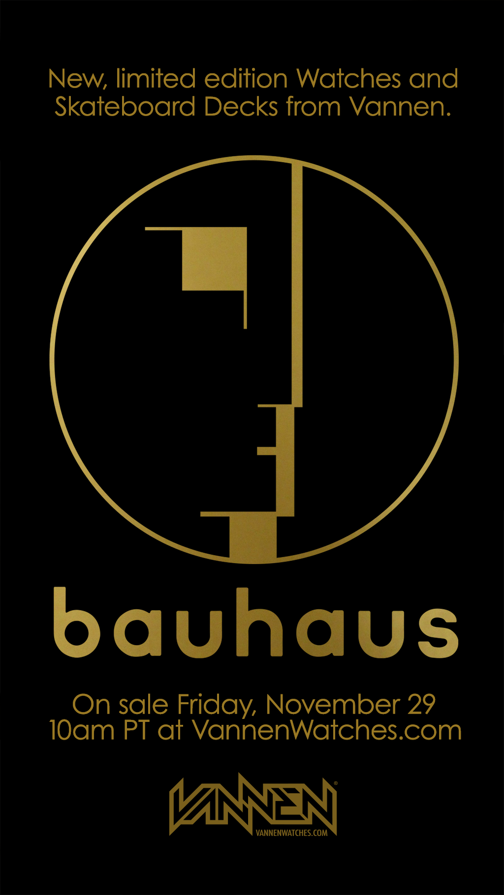 Announcement for new Vannen x Bauhaus Watches and Skateboard Decks