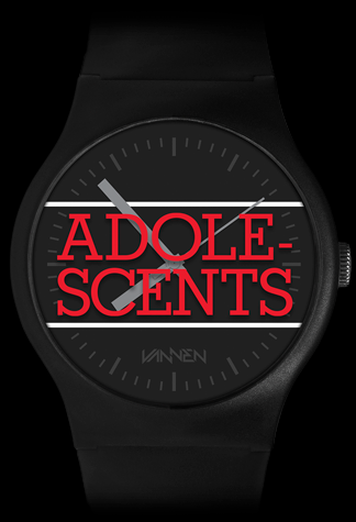 Adolescents x Vannen black variant watch front view