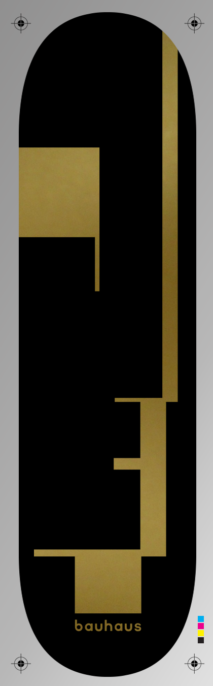 Black and gold Bauhaus Skateboard Heat Transfer