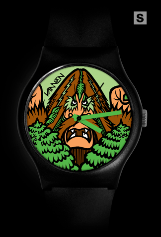 Super-limited edition Bigfoot '100,000 Years' black variant Vannen Artist Watch.