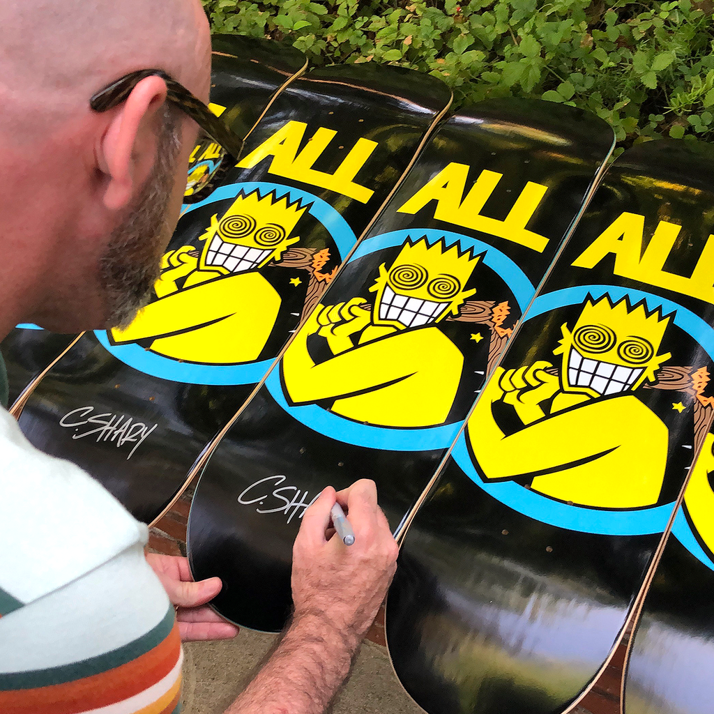 Chris Shary signing ALL black skateboard decks