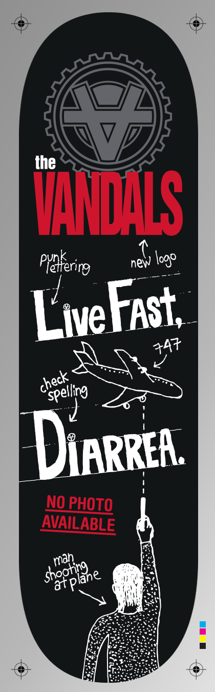 "The Vandals """"Live Fast, Diarrhea"" heat transfer sheet"