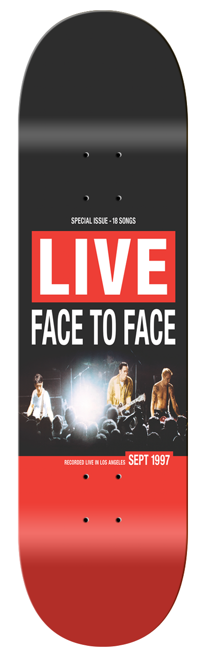 "Face to Face x Vannen ""LIVE"" skateboard deck."