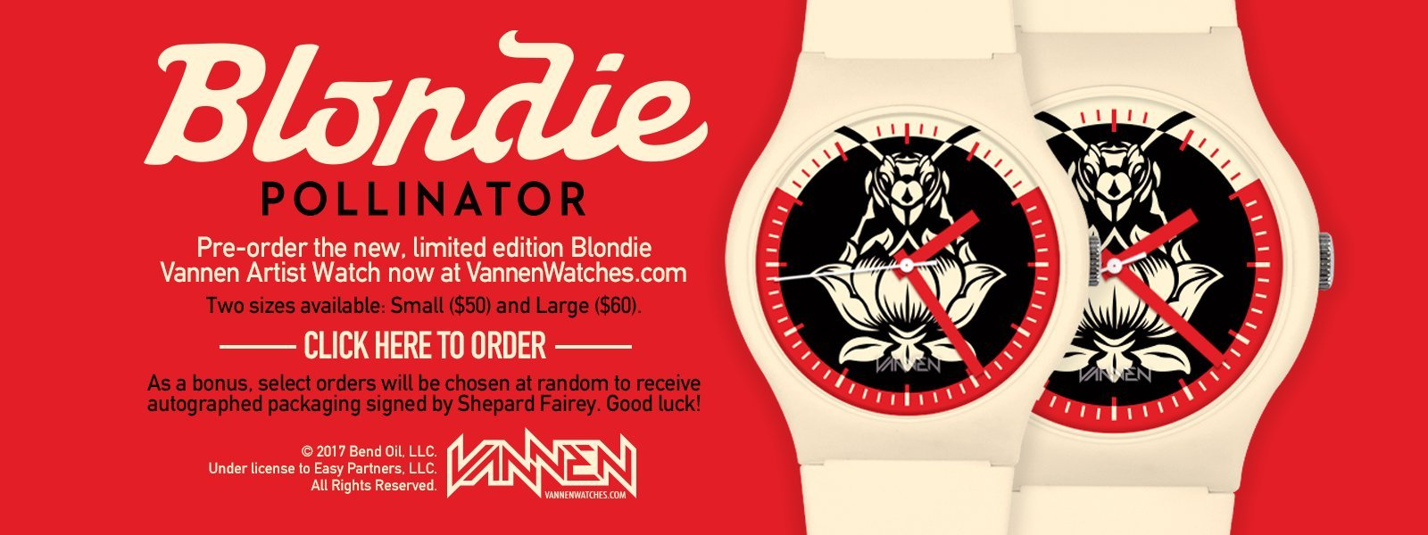 Limited Edition Blondie x Shepard Fairey x Vannen Artist Watch Now Available for Pre-Order