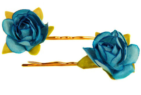 Turquoise Floral Bobby Pin