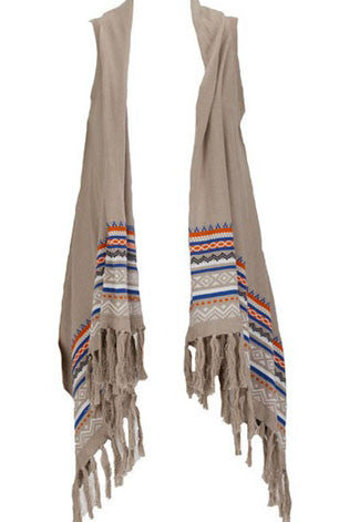 Native Fringed Cardigan Vest