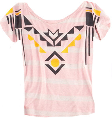 Aztec Stripe Crop Tee