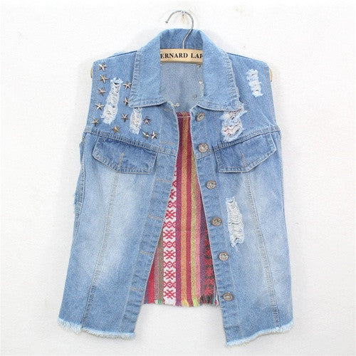 Flag Back Denim Vest