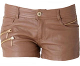 Camel Zippered Leather Shorts