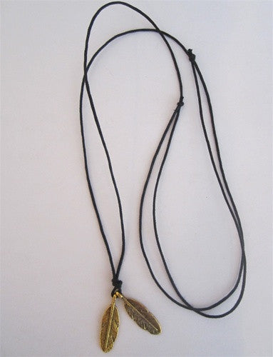 Double Feather Cord Necklace