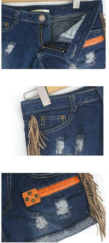 Suede Tassel Denim Shorts
