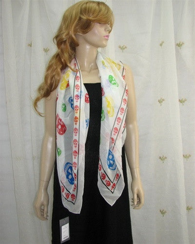 White Multi Colored Skull Scarf