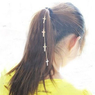 Cross Drop Hair Tie
