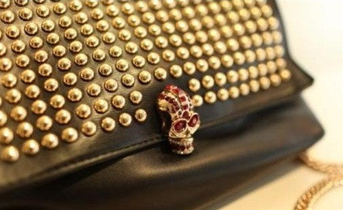 Rivet Skull Messenger Bag