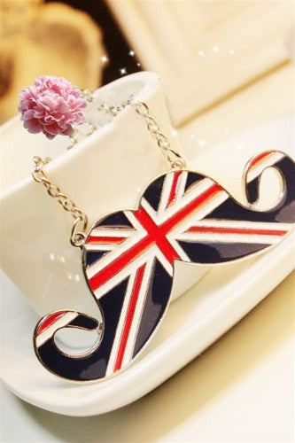 Union Jack Mustache Necklace