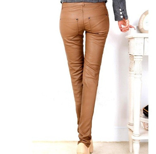 Camel Skinny Leather Pants