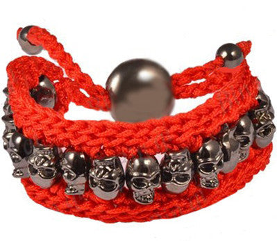 Double Thread Gunmetal Skull Bracelet