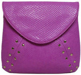 Purple Snakeskin Stud Clutch