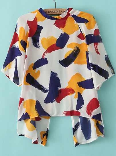 Graffiti Print Split Blouse