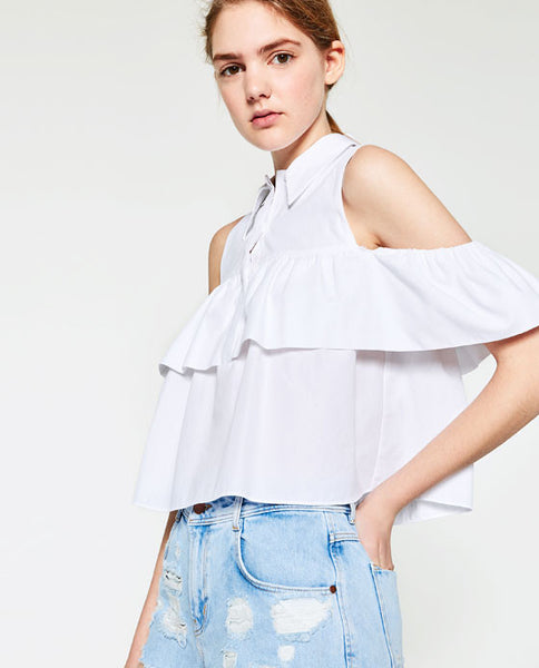 Frilled Cut Out Shoulder Blouse