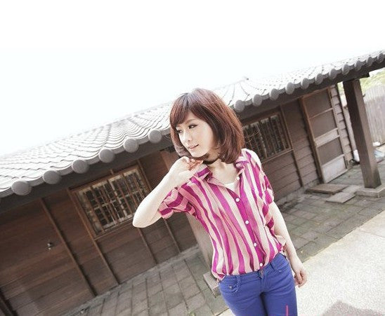 Open Shoulder Striped Blouse
