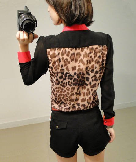 Red Trim Leopard Blouse