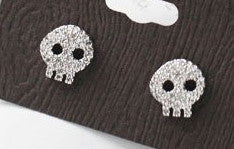 Mini Rhinestone Skull Earrings