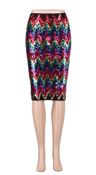 Knee Length Sequin Skirt
