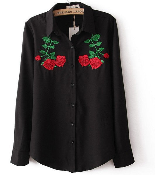 Roses Embroidery Blouse