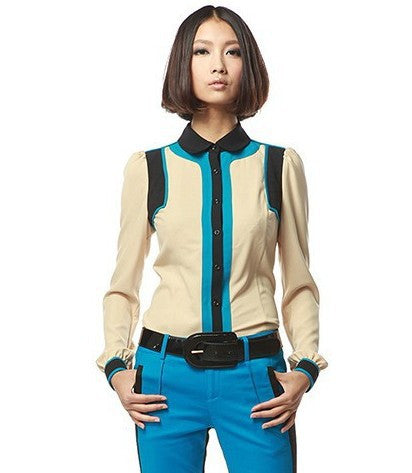 Retro Color Block Blouse