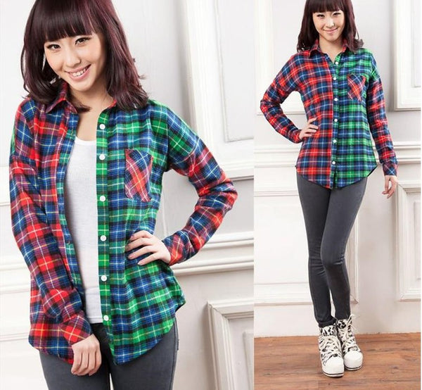 Contrast Plaid Blouse