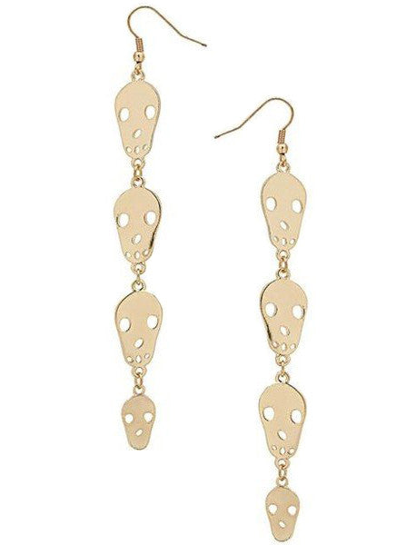 Golden Skull Drop Earrings