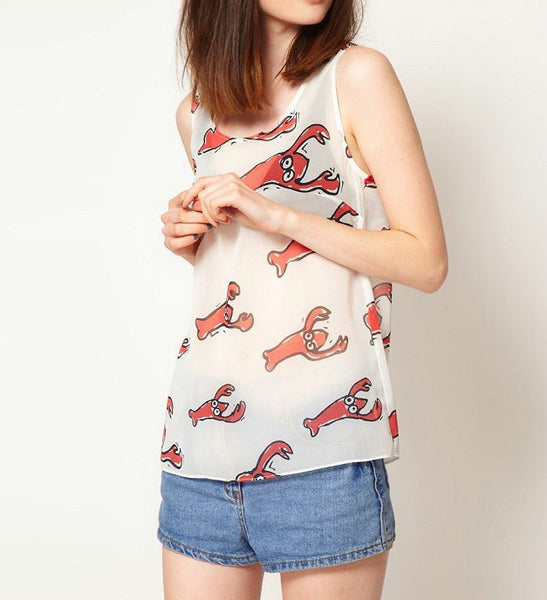 Lobster Print Tank Top