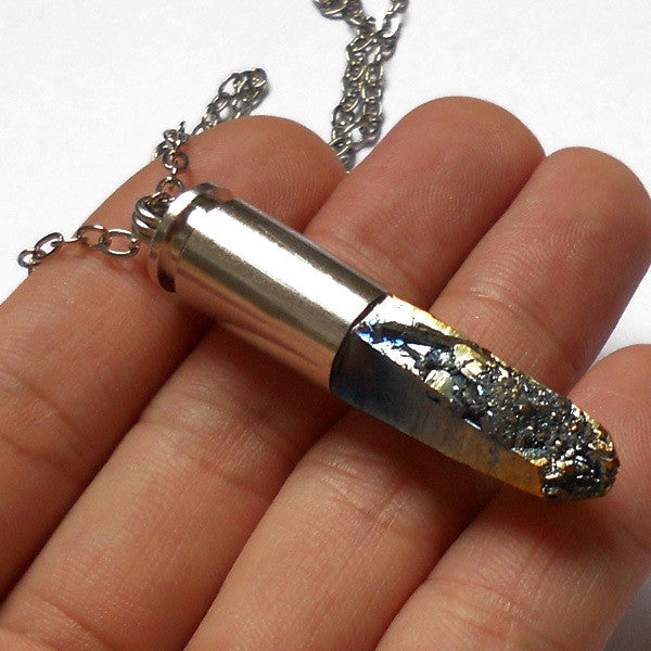 Silver Quartz Bullet Necklace