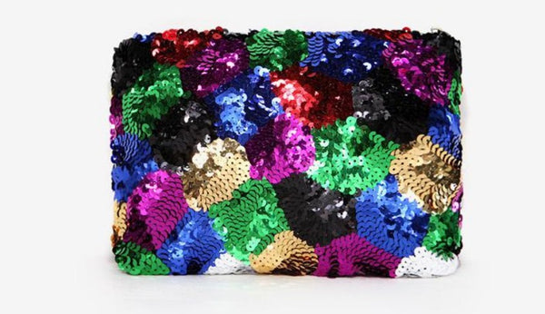 Patchwork Sequin Clutch
