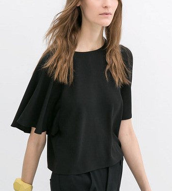 Cropped Flutter Sleeve Blouse