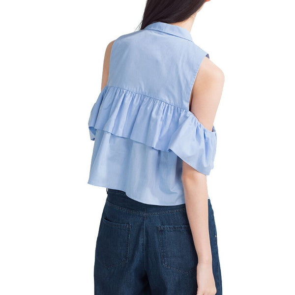 Frilled Cotton Poplin Blouse