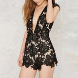 Plunging Lace Romper