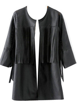 Leather Fringe Coat