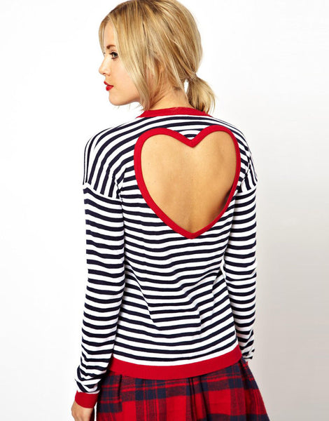 Striped Heart Cut Out Top