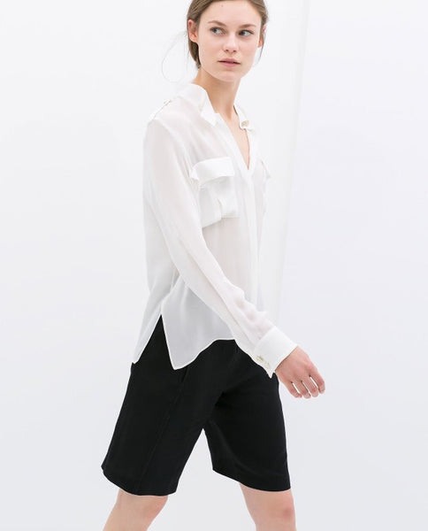 Structured Pocket Blouse
