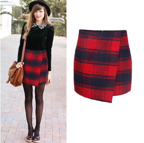 Plaid  Asymmetrical Wrap Skirt