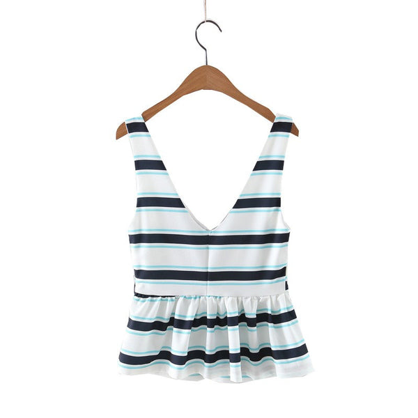 Deep V Stripe Blouse