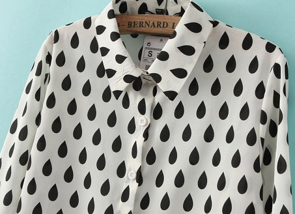 Raindrop Button Down Blouse